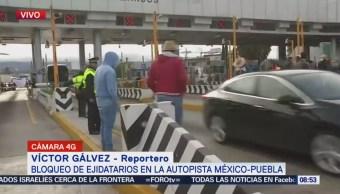 Ejidatarios de Ixtapaluca bloquean la autopista México-Puebla