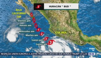 El huracán 'Bud' se intensifica a categoría 3
