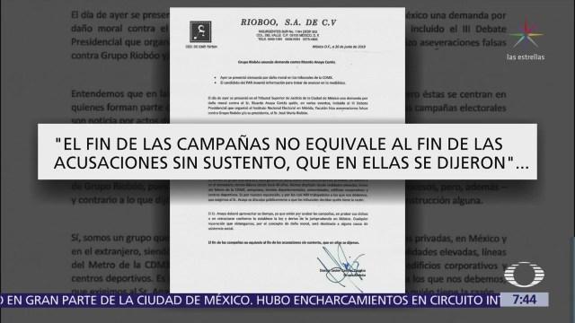 Grupo Riobóo presenta demanda contra Ricardo Anaya