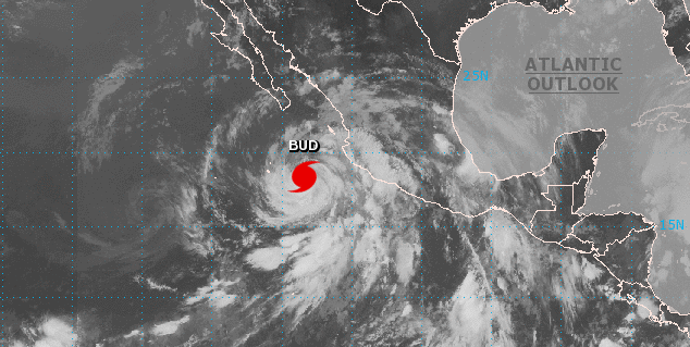 Se degrada el huracán Bud a categoría 3