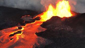 Lava volcán Kilauea seca lago más grande Hawai