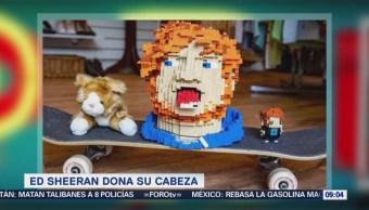 #LoEspectaculardeME: Ed Sheeran dona una cabeza de Lego para subasta