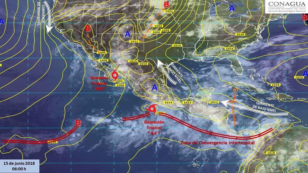 Mapa con el pronóstico del clima de este 15 de junio. (SMN)