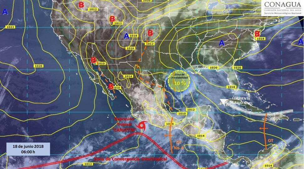 Mapa con el pronóstico del clima para este 18 de junio. (SMN)