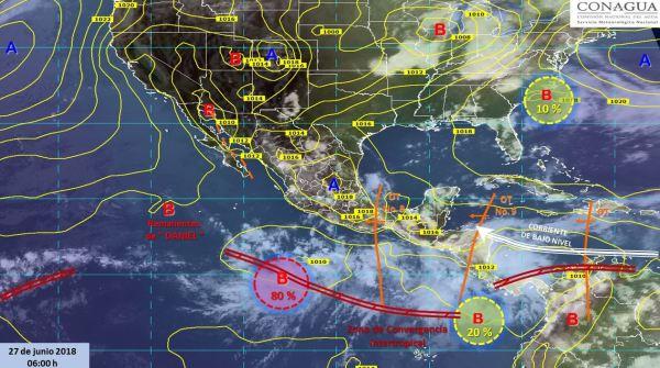 Mapa con el pronóstico del clima para este 27 de junio. (SMN)