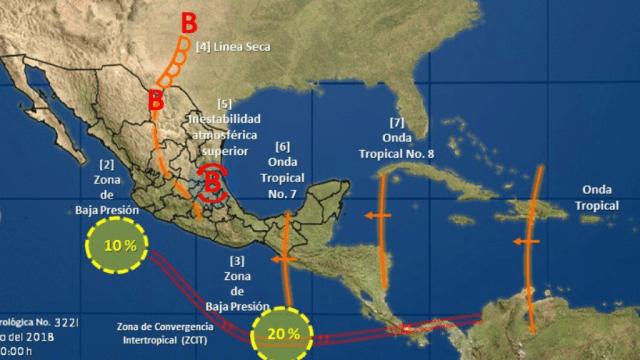 Vigilan dos zonas de inestabilidad en el Pacífico mexicano