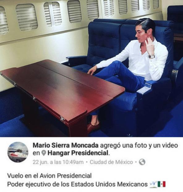 Mario Sierra Moncada acusado de viajar en el avión presidencial