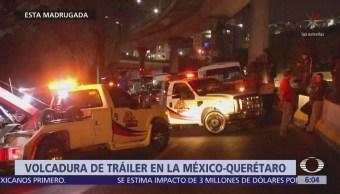 Motociclista muere tras volcadura de tráiler en la México-Querétaro
