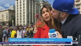 Periodista colombiana denuncia acoso durante enlace en Mundial Rusia 2018
