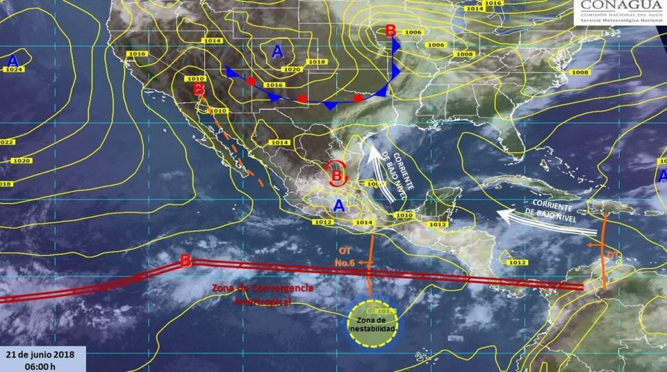 Mapa con el pronóstico del clima para este 21 de junio. (SMN)