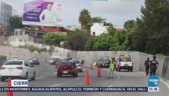 Reportan hundimiento en el Paso Express de Cuernavaca