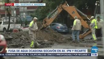 Reportan socavón en avenida IPN, colonia Lindavista