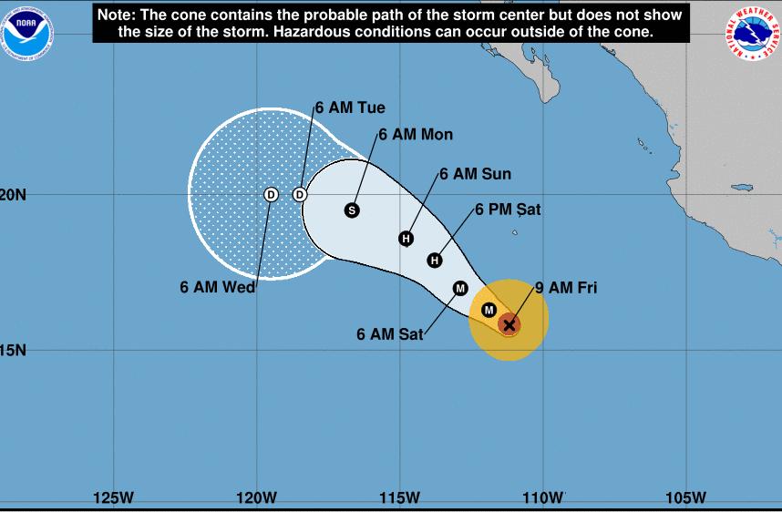 Pronóstico de la trayectoria del huracán Aletta