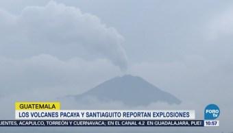 Tres volcanes de Guatemala amanecen con explosiones