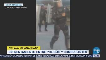 Enfrentamiento Entre Policías Comerciantes Guanajuato