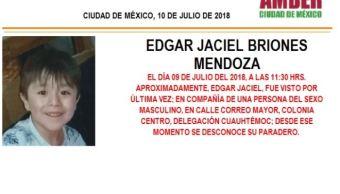 Activan Alerta Ámber para localizar a Edgar Jaicel Briones