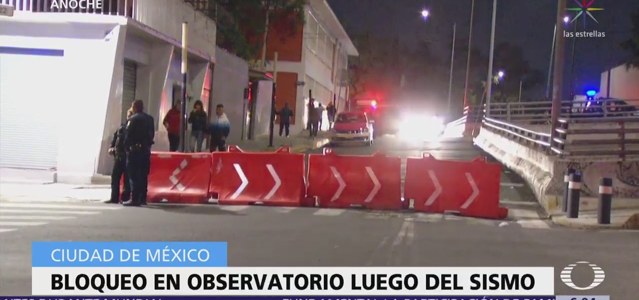 Bloquean avenida Observatorio tras sismo con epicentro en delegación Magdalena Contreras