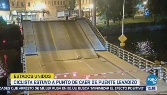 Ciclista estuvo a punto de caer de un puente levadizo en Wisconsin