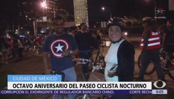 Ciclistas conmemoran el octavo aniversario paseo nocturno