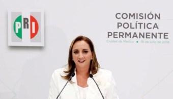 Claudia Ruiz Massieu protesta como nueva presidenta nacional del PRI