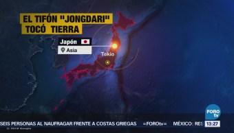Tifón Jongdari Toca Tierra Provoca Lluvias Japón