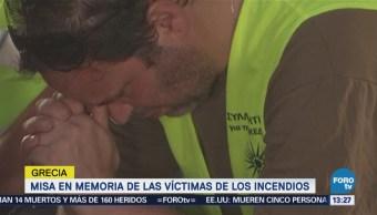 Grecia Realizan Misa Memoria Víctimas Incendios
