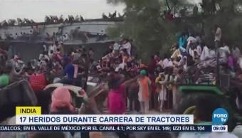 Colapsa grada en India durante carrera de tractores