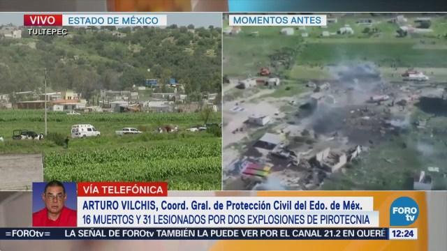 Confirman 16 muertos y 31 lesionados por explosiones en Tultepec