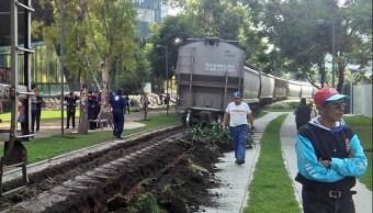 Descarrila tren en avenida Ferrocarril de Cuernavaca, CDMX