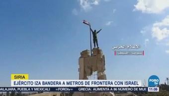 Ejército sirio iza bandera a metros de frontera con Israel