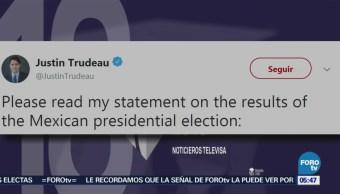 Justin Trudeau felicita a López Obrador