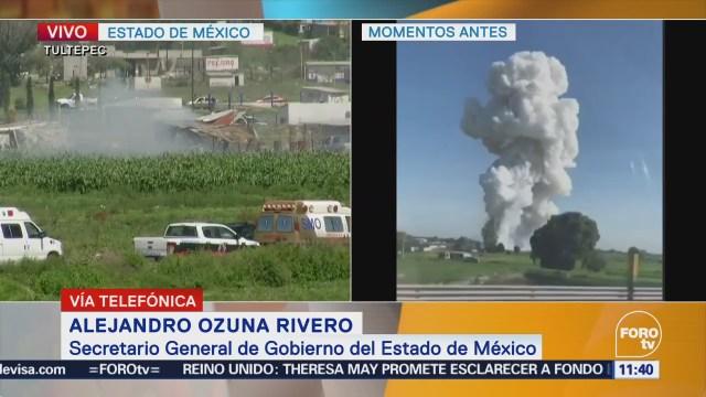 Gobierno del Edomex: Podrían ser 16 muertos por explosiones en Tultepec