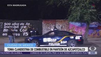 Hallan toma clandestina de combustible en panteón de Azcapotzalco