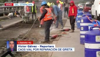Obras para reparar grieta en Periférico Oriente provocan caos vial