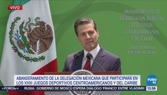 Peña Nieto Abandera Delegación Mexicana Juegos Centroamericanos