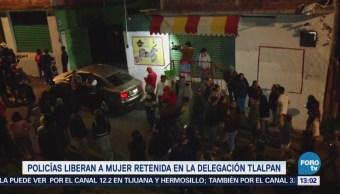 Policías Liberan Mujer Retenida Delegación Tlalpan