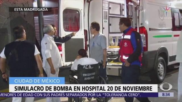 Realizan simulacro de amenaza de bomba en Hospital de la CDMX