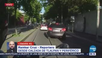 Reportan tránsito fluido en calzada de Tlalpan y Periférico