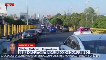 Reportan tránsito lento en Circuito Interior, CDMX