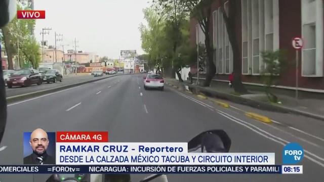 Reportan tránsito pesado en Circuito Interior, CDMX