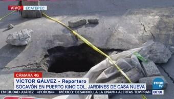 Reportan un socavón en Jardines de Casanueva, Ecatepec