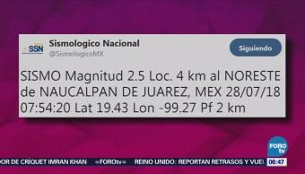 Registra Sismo Magnitud 2.5 Naucalpan
