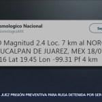 Sismo de magnitud 2.4 se registra en Naucalpan