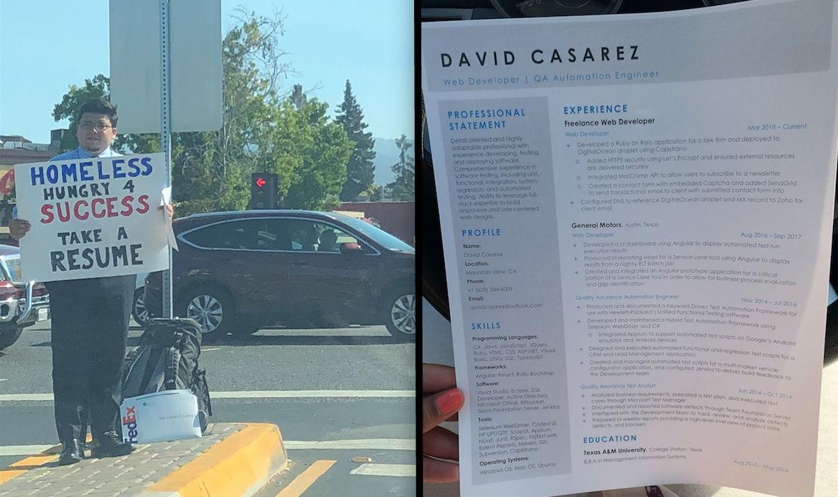Indigente reparte copias CV esquina Silicon Valley viral ...