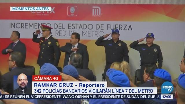 342 policías bancarios vigilarán la Línea 7 del Metro CDMX