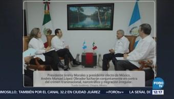 AMLO dialoga sobre narcotráfico con presidente de Guatemala