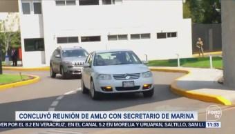 AMLO sale de reunión con el titular Marina, Vidal Soberón