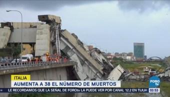 Aumenta a 38 el número de muertos por derrumbe en Génova