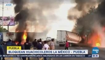 Bloquean huachicoleros la México-Puebla