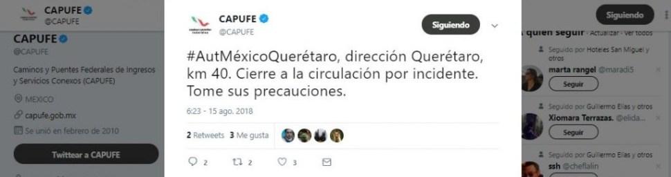 Choque de tráiler en autopista México-Querétaro causa cierre a la circulación